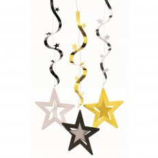 Hollywood Gold, Silver & Black Wavy Dangler Hanging Decorations