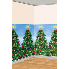 Christmas Evergreen  Trees Room Roll Scene Setter