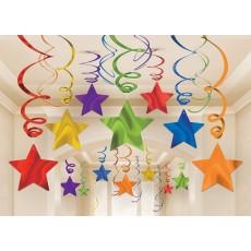 Rainbow Shooting Stars Swirl Hanging Decorations
