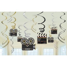 Hollywood Lights! Camera! Action! Swirls Hanging Decorations Pack of 12