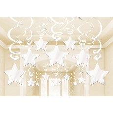 White Frosty Shooting Stars Foil Swirl Hanging Decorations