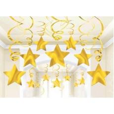 Yellow Sunshine Shooting Stars Foil Swirl Hanging Decorations