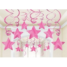 Pink Bright Shooting Stars Swirls Hanging Decorations