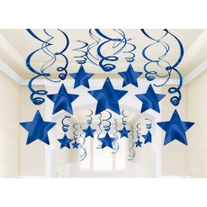 Blue Bright Royal Foil Shooting Star Swirl Hanging Decorations