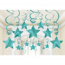 Blue Robin's Egg  & White Foil Shooting Star Swirl Hanging Decorations