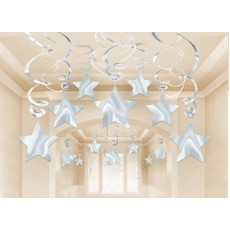 Silver Shooting Stars Swirl Hanging Decorations Pack of 30