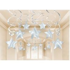 Silver Shooting Stars Swirl Hanging Decorations