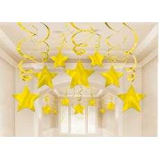 Gold Shooting Stars Swirls Hanging Decorations 45.7cm Pack of 30