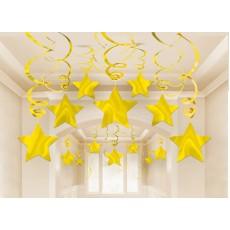Hollywood Gold Stars Swirls Hanging Decorations