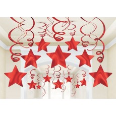 Red Apple Shooting Stars Swirls Hanging Decorations