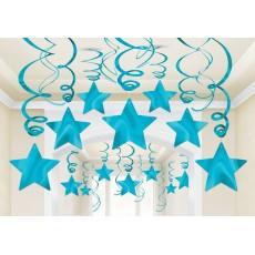 Blue Caribbean Foil Shooting Star Swirl Hanging Decorations