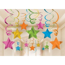 Multi Colour ed Shooting Stars Swirls Hanging Decorations