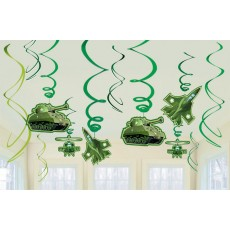 Camouflage Swirls Hanging Decorations Pack of 12