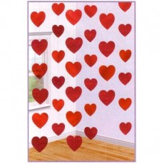 Red Love Hearts String Hanging Decorations 2.1m Pack of 6