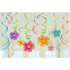 Hawaiian Luau Swirls Hanging Decorations