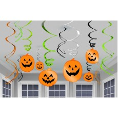 Halloween Pumpkin Swirl Hanging Decorations