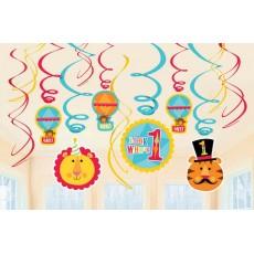 Fisher Price 1st Birthday Circus Swirls Hanging Decorations Pack of 12