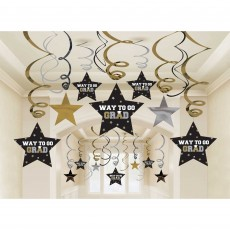 Black, Silver & Gold Graduation Swirl Way to Go Grad! Hanging Decorations Pack of 30