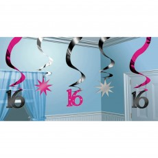 16th Birthday Sweet 16 Sparkle Swirl Hanging Decorations