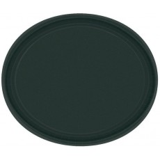Oval Jet Black Paper Banquet Plates 30cm Pack of 20