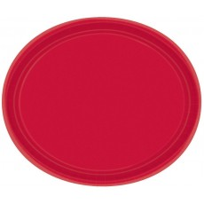 Oval Apple Red Paper Banquet Plates 30cm Pack of 20