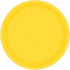 Round Sunshine Yellow Paper Banquet Plates 26cm Pack of 20
