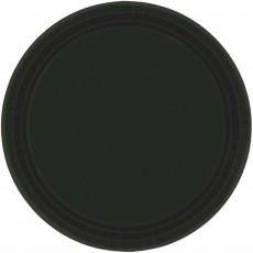 Round Jet Black Paper Banquet Plates 26cm Pack of 20