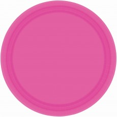 Round Bright Pink Paper Banquet Plates 26cm Pack of 20