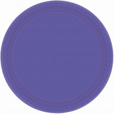 Round New Purple Paper Banquet Plates 26cm Pack of 20