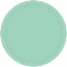 Round Cool Mint Green Paper Banquet Plates 26cm Pack of 20