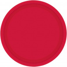 Round Apple Red Paper Banquet Plates 26cm Pack of 20