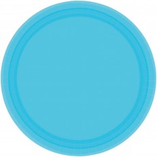 Round Caribbean Blue Paper Banquet Plates 26cm Pack of 20