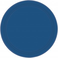 Round Navy Flag Blue Paper Banquet Plates 26cm Pack of 20