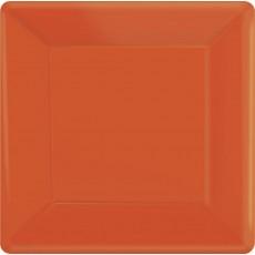 Square Orange Paper Banquet Plates 26cm Pack of 20