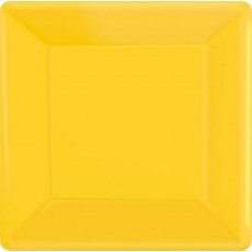 Square Sunshine Yellow Paper Banquet Plates 26cm Pack of 20