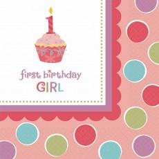 Sweet Cupcake 1st Birthday Girl Beverage Napkins