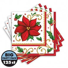 Christmas Poinsettia Winter Botanical Lunch Napkins