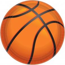Basketball Fan Party Supplies - Banquet Plates Nothin' But Net Basketball