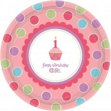 Sweet Cupcake 1st Birthday Girl Paper Banquet Plates