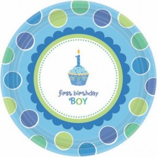 Sweet Cupcake 1st Birthday Boy Paper Lunch Plates