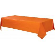 Rectangular Orange Plastic Table Cover 1.37m x 2.74m