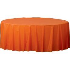 Round Orange Plastic Table Cover 2.1m