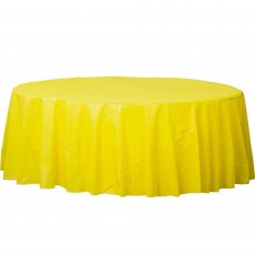 Round Sunshine Yellow Plastic Table Cover 2.1m