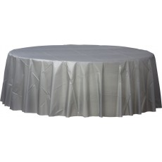 Round Silver Plastic Table Cover 2.1m