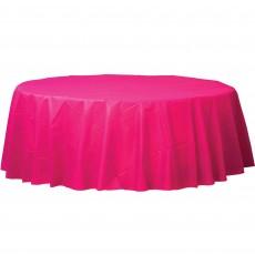Round Magenta Plastic Table Cover 2.1m
