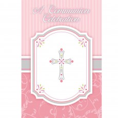 First Communion Pink Blessings Invitations