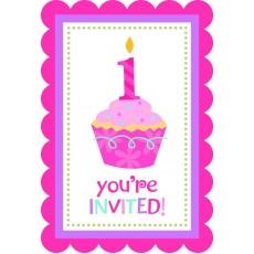 Sweet Cupcake 1st Birthday Girl Postcard Invitations