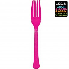 Pink Party Supplies - Forks Premium Extra Heavy Weight Bright Pink