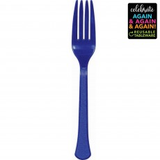 Blue Party Supplies - Forks Premium Extra Heavy Weight Bright Royal Blue