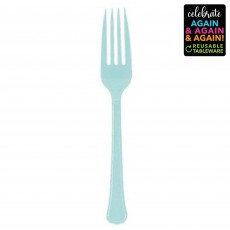Blue Party Supplies - Forks Premium Extra Heavy Weight Robin's Egg Blue